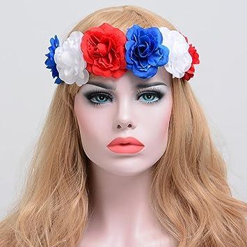 Amazon sunbibe women flower hair garland crown headband floral sunbibe women flower hair garland crown headband floral wreath hairband redwhiteblue mightylinksfo