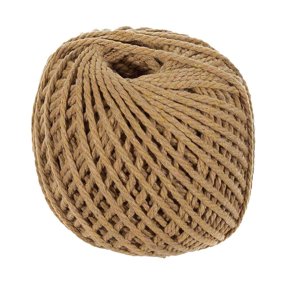Craft County 100 Meter - 4mm Diameter Crafting Cotton Rope in Black, Gray, Ivory, Light Pink, Tan