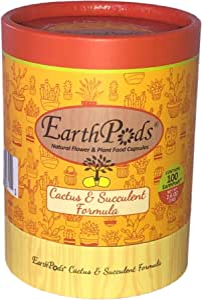 EarthPods Premium Cactus & Succulent Plant Food – Easy Organic Fertilizer Spikes - 100 Capsules - Enhance Color, Stem + Leaf Growth (for Cacti, Succulents, Aloe Vera & Jade Soil, Ecofriendly)