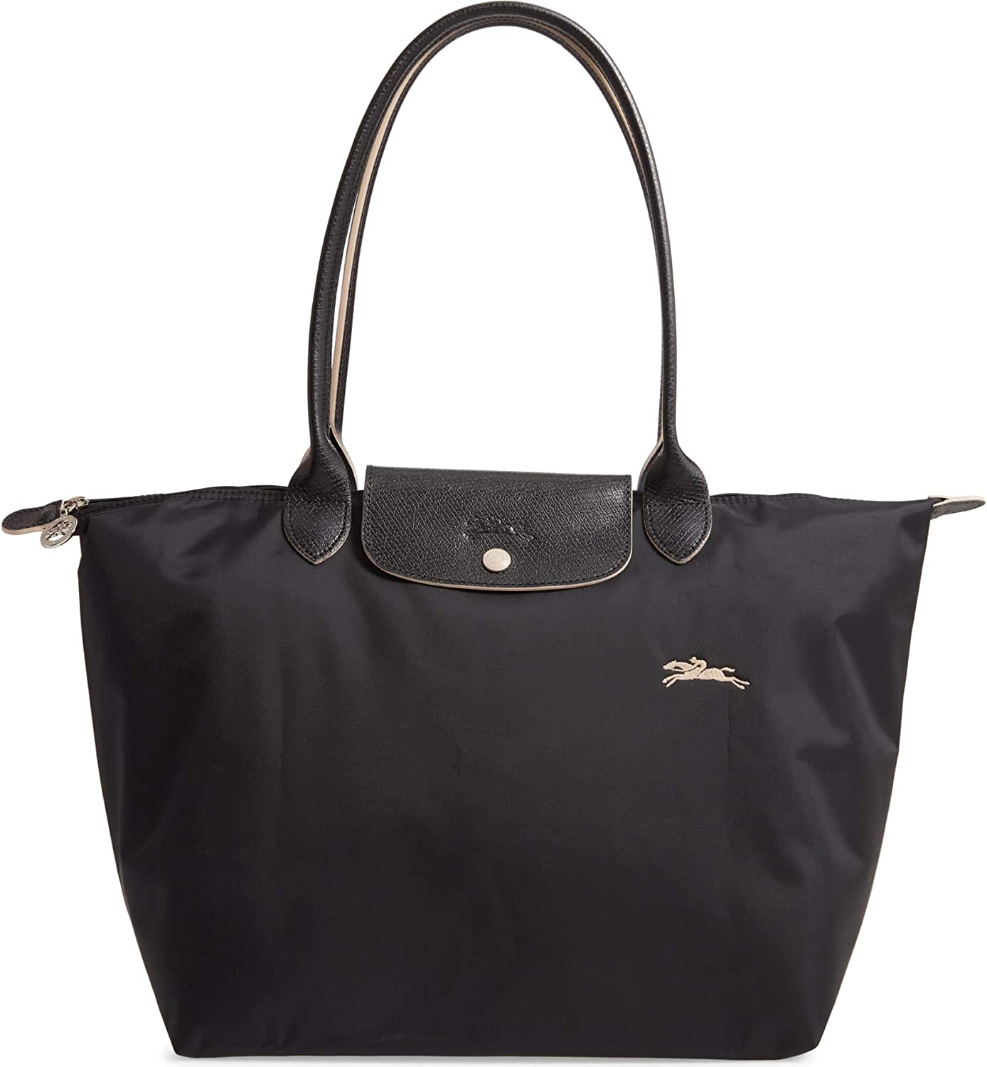 Longchamp Large Le Pliage Club Nylon Tote Shoulder Bag, Black