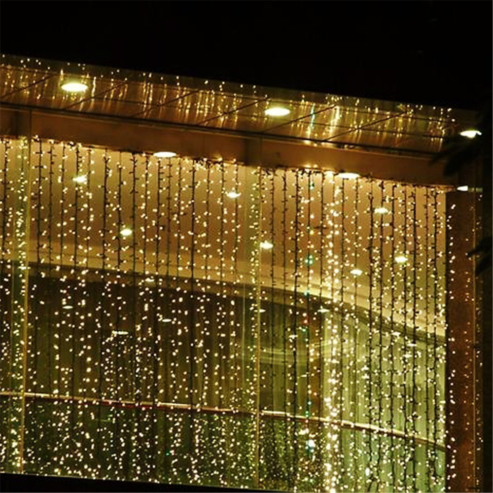 Amazon curtain icicle lights agptek 3m x 3m 8 modes warm amazon curtain icicle lights agptek 3m x 3m 8 modes warm white fairy string lights for christmas wedding home garden outdoor window 300 led aloadofball Image collections