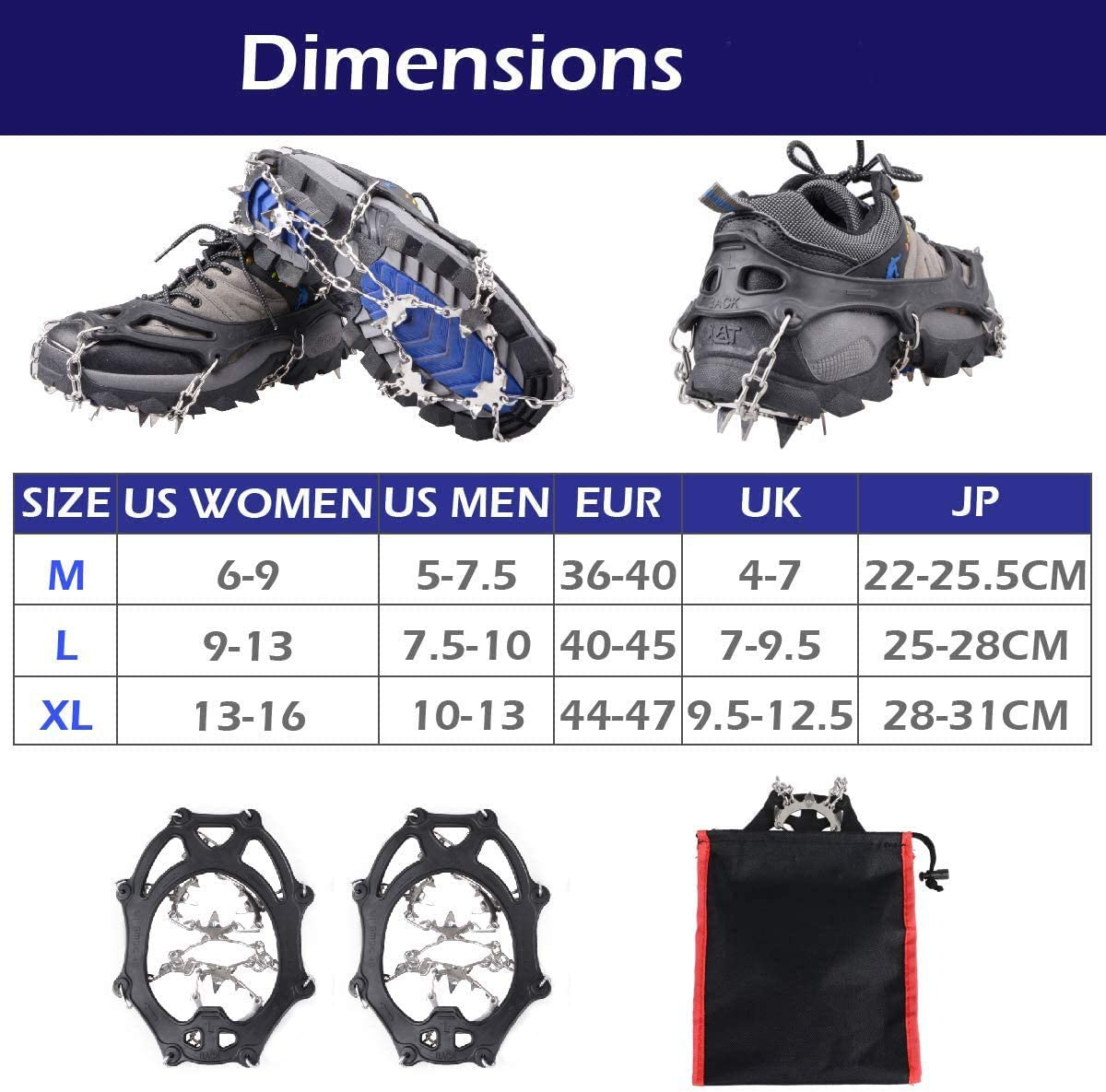 Upgraded Version Of Crampons Ice Cleats Traction Snow Grips for Boots Shoes Women Men Kids Anti Slip 19 Stainless Steel Spikes Safe Protect for Hiking Walking Climbing With Neck Gaiters
