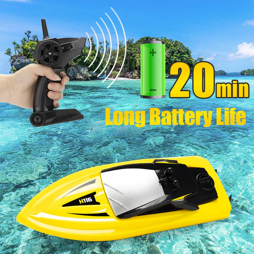 RC Boat Remote Control Boats for Pools and Lakes, ROTOBAND H116 14km/h Self Righting High Speed Boat Toys for Kids Adults Boys Girls(Yellow) by ROTOBAND (Image #1)