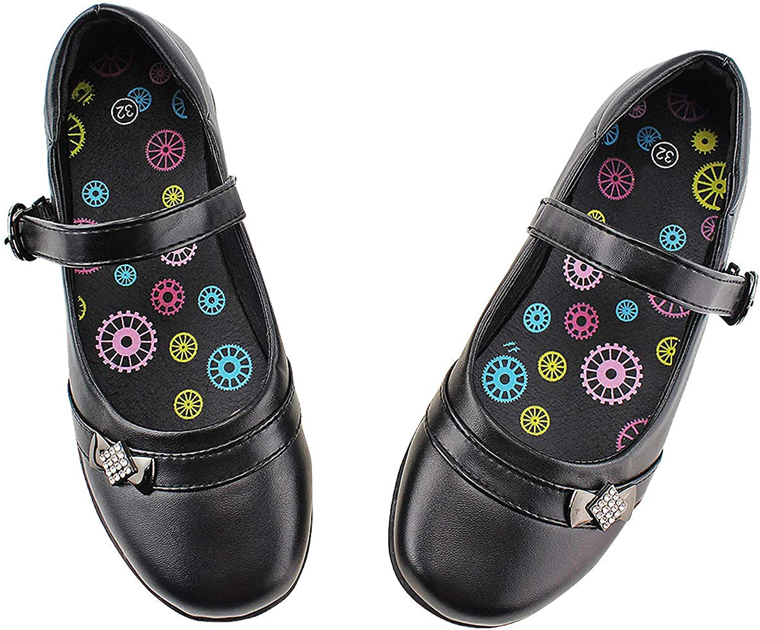 Girls School Uniform Shoes Oxford Embroidered Mary Jane Flat