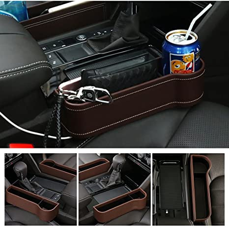 Brown Center Console Side Pocket PU Leather Car Seat Gap Filler Organizer Catcher With Cup