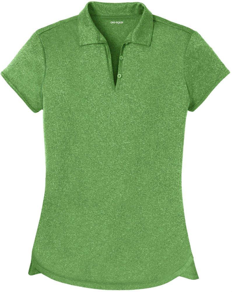 DRI-Equip(tm) Ladies Heathered Moisture Wicking Golf Polo-Green-XS