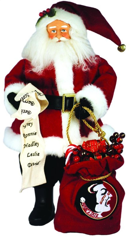 15'' NCAA Florida State Seminoles Santa with Toy Sack Table Top Christmas Figure