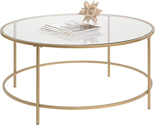 Sauder 417830 Int Lux Coffee Table Round, Glass Gold Finish