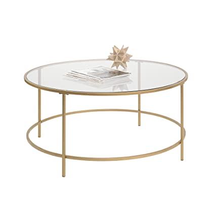 0809ac43f883e2 Amazon.com: Sauder 417830 Int Lux Coffee Table Round, Glass / Gold Finish:  Kitchen & Dining
