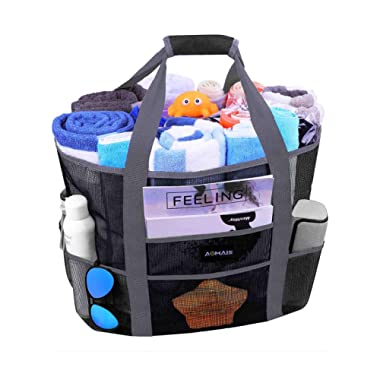 Mesh Beach Bags and Totes, AOMAIS MAX Capacity 30L/150lbs Durable Toy Tote Bag with Removable Strap& 8 Extra Pockets& Inside Pocket for Beach, Picnic (Black, Large)