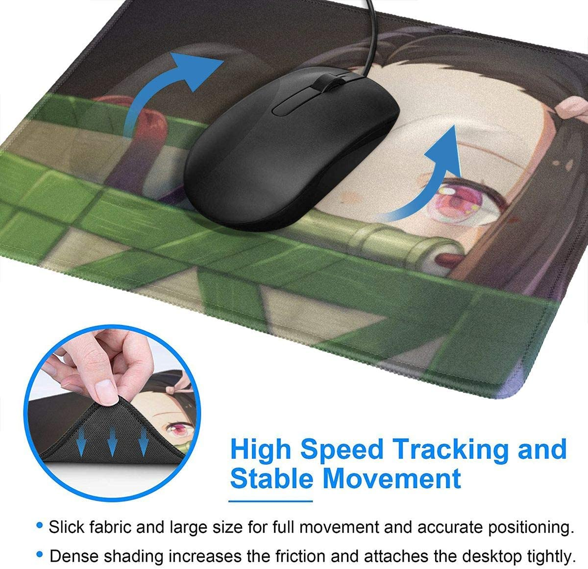 Kamado Nezuko Demon Slayer Mouse Pad Non-Slip Gaming Mouse Pad with Stitched Edge Computer PC Mousepad Rubber Base for Office Home