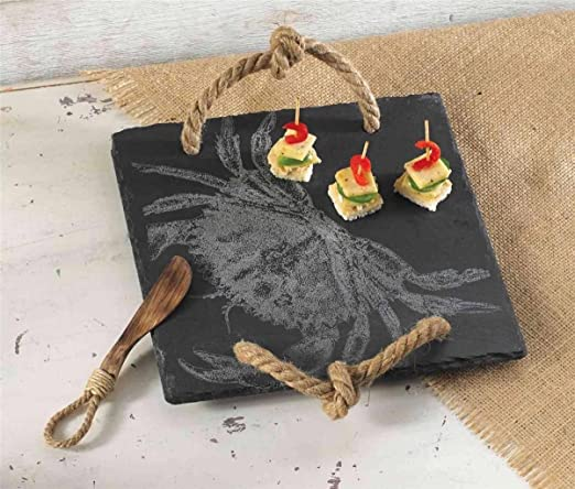 Christmas Tablescape Décor - Mud Pie classic etched crab slate board rope handled platter with wood and rope spreader