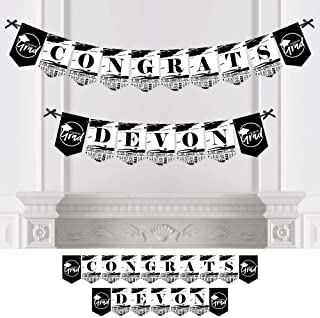 product image for Big Dot of Happiness Personalized Black and White Grad - Best is Yet to Come - Custom Black and White 2021 Graduation Party Bunting Banner and Decorations - Congrats Custom Name Banner