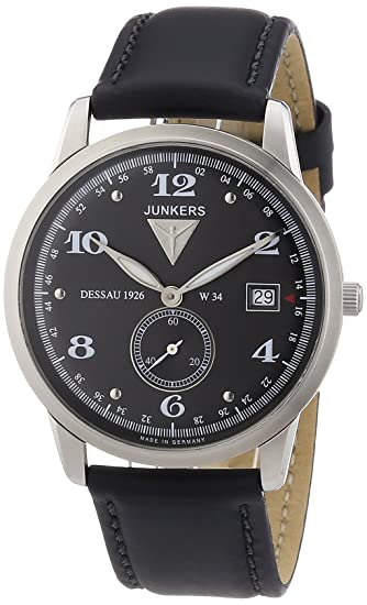 Junkers 63342 - Reloj analógico de cuarzo para hombre con correa de piel, color negro