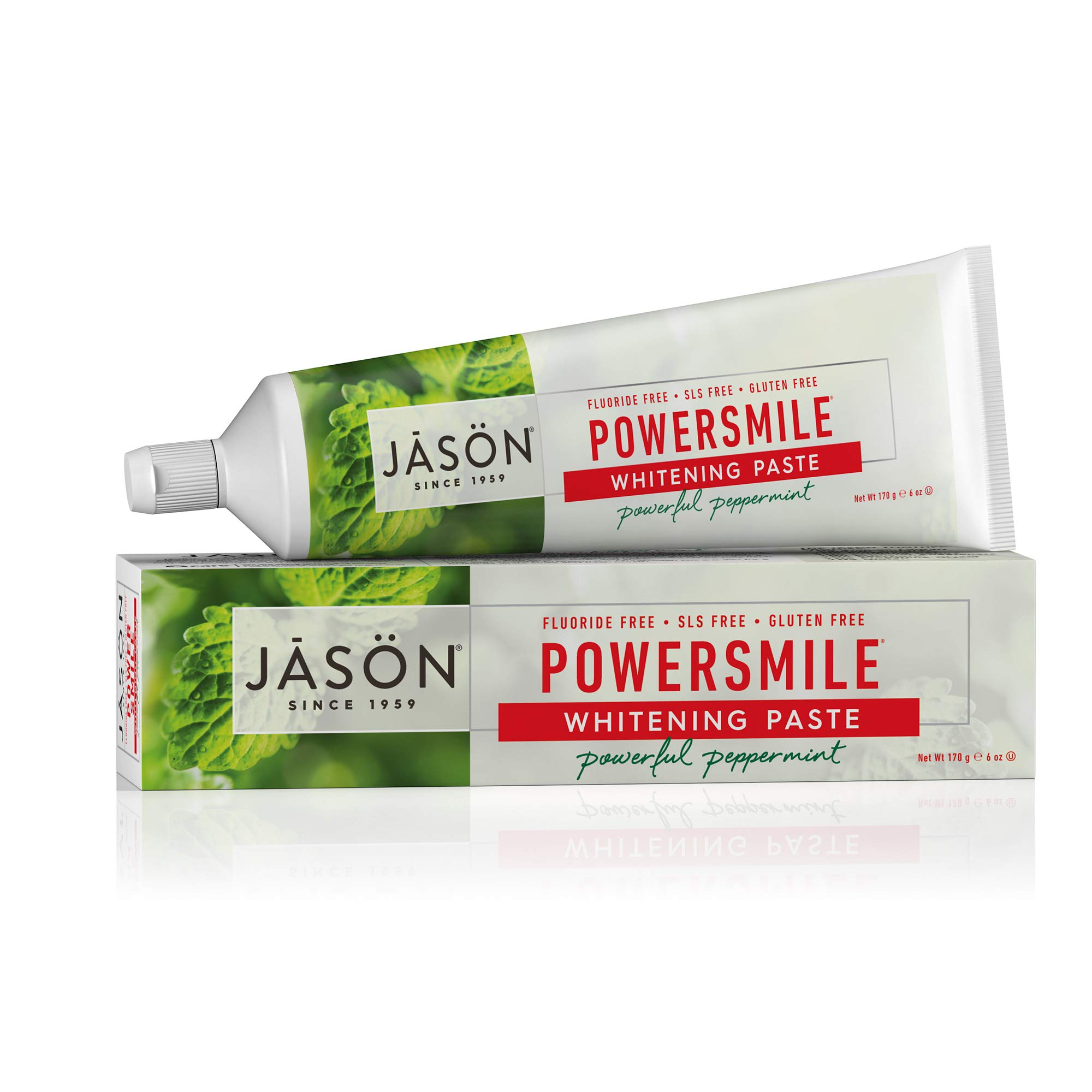 JASON Powersmile Whitening Fluoride-Free Toothpaste, Powerful Peppermint, 6 Ounce Tube
