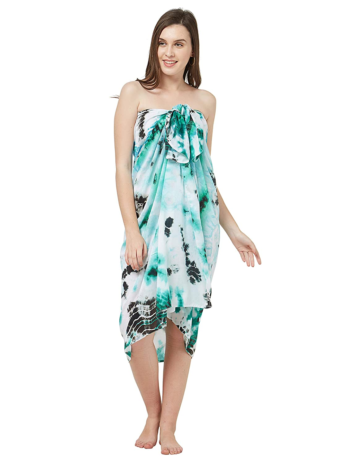 4a72b622fe26 SOURBH Women's Sarongs Cover up Western Beach Wear Wrap Dress (Green;  White; Free Size): Amazon.in: Clothing & Accessories