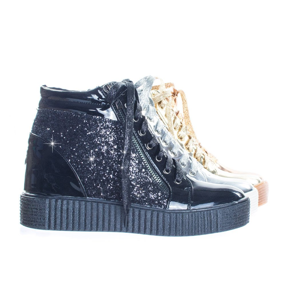 30d2e0f0c65d Forever Link Retro Glitter Oxford Lace Lace Lace Up Platform Wedge Creeper
