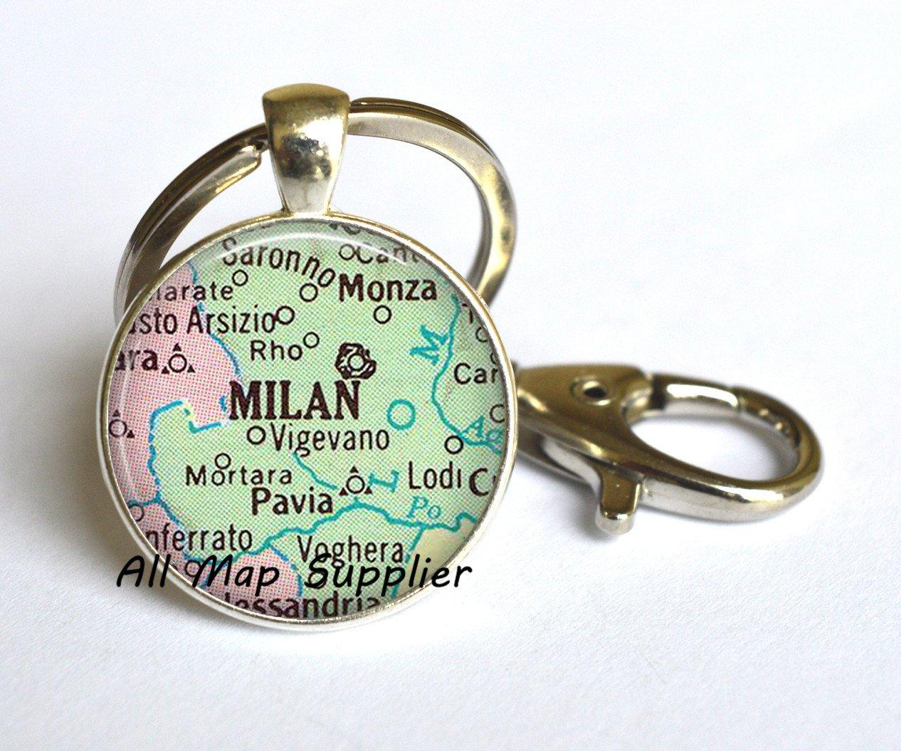 Encantador Llavero, Milan mapa llavero, Milan mapa llavero ...