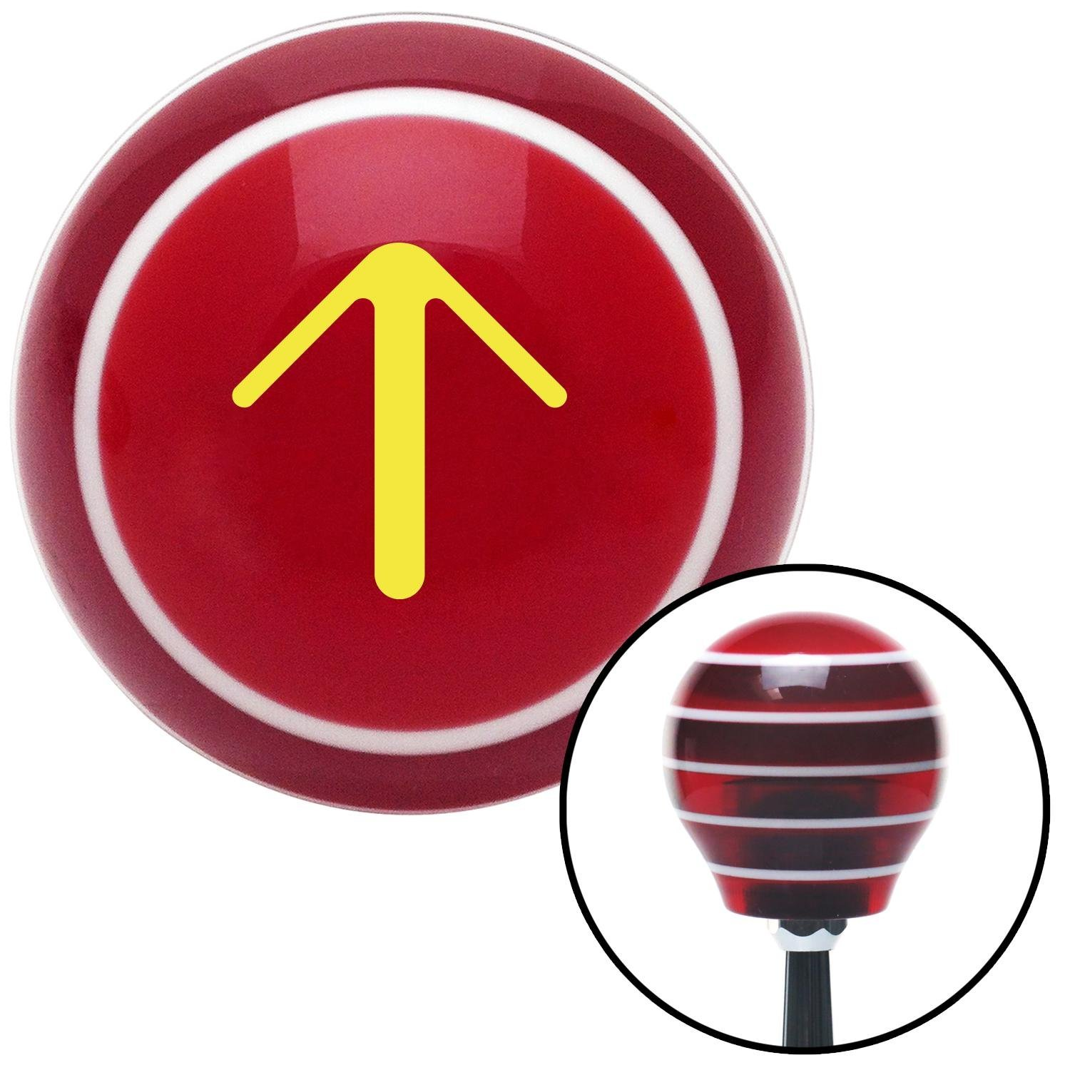 American Shifter 112039 Red Stripe Shift Knob with M16 x 1.5 Insert Yellow Solid Pointing Arrow Up
