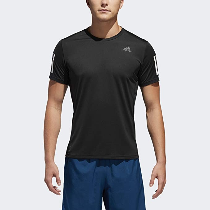 adidas Men's Own the Run Running Tee, Black/White, Large