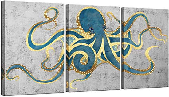sechars 3 Piece Canvas Wall Art Abstract Teal Green Octopus Painting Prints on Canvas Sea Life Picture Poster Gallery Wrap Vintage Farmhouse Home Living Room Wall Decora Ready to Hang