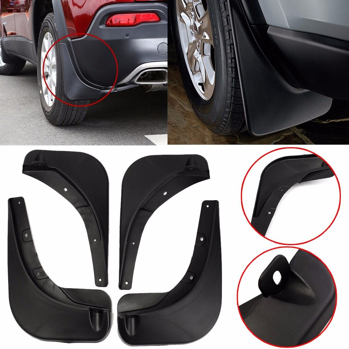 BEESCLOVER For Jeep Renegade 15-18 Stylish Car Front Rear Mud Flaps Mudguard Guards