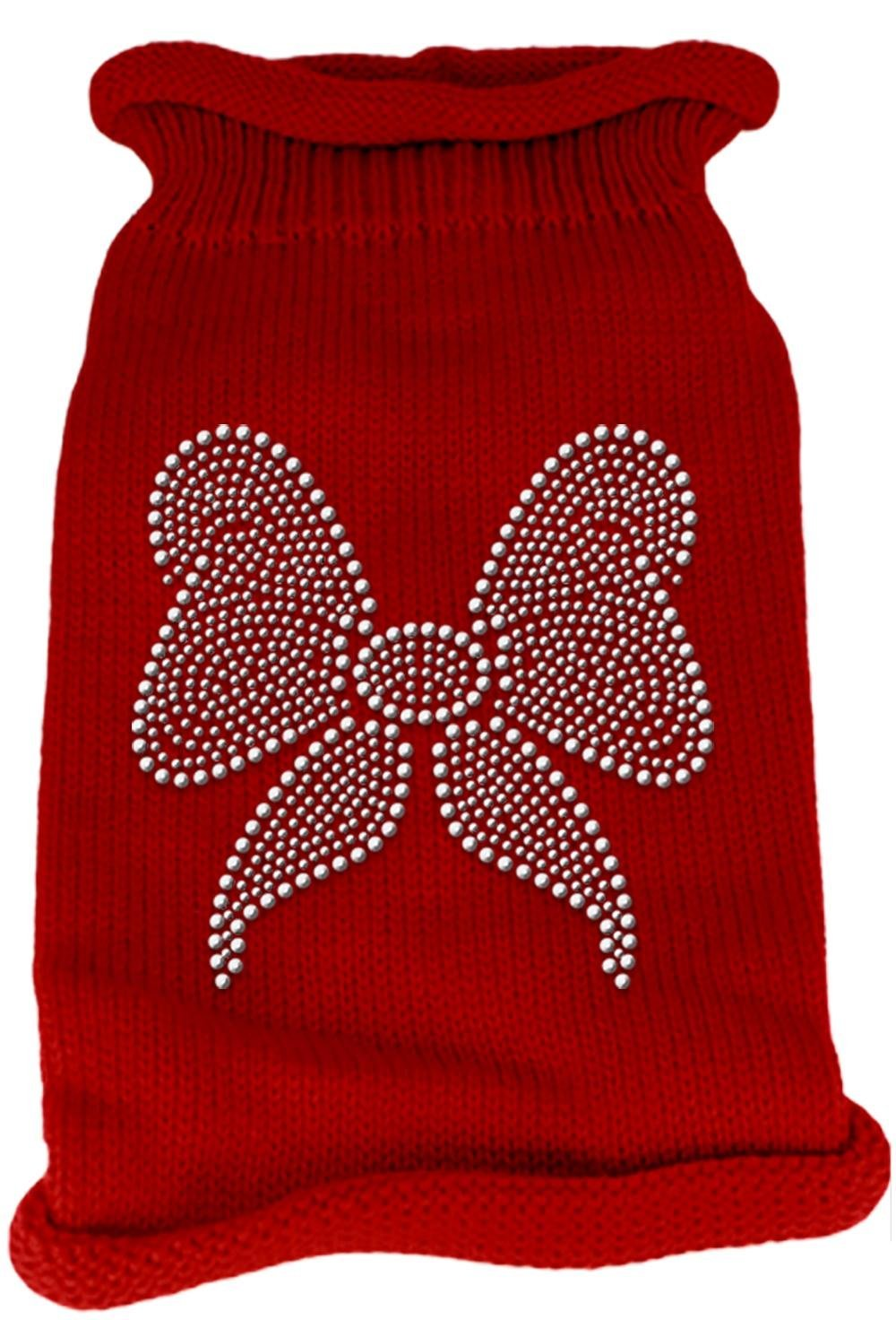 Mirage Pet Products Bow Rhinestone Knit Pet Sweater Red, X-Small