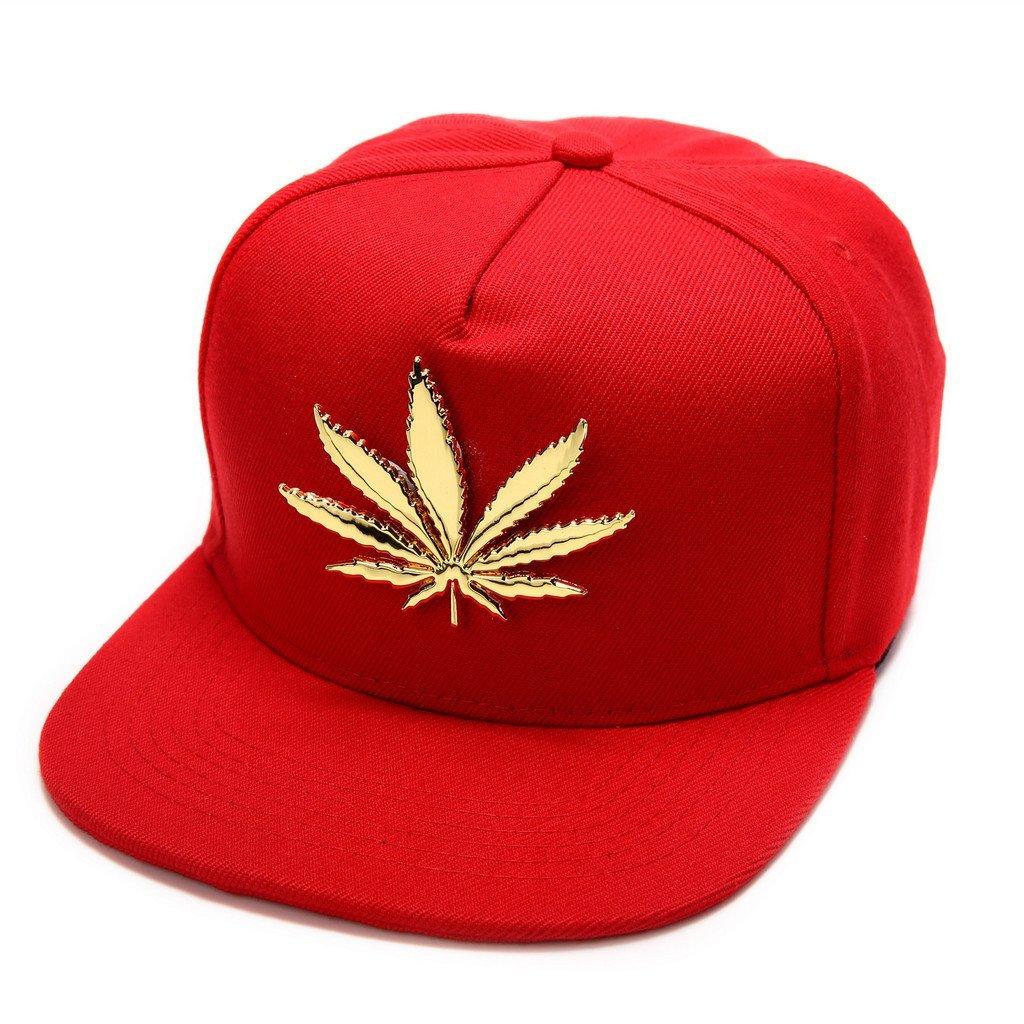 MCSAYS New Gold Plated Marijuana Hip Hop Cotton Unisex Baseball Cap/Hats Snapback Black