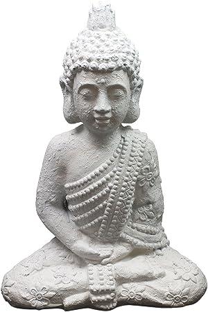Jardín Figura Decorativa Buda sentado h50 cm Budismo Buda Estatua Escultura Figura de escultura de jardín jardín decoración figura de piedra: Amazon.es: Hogar