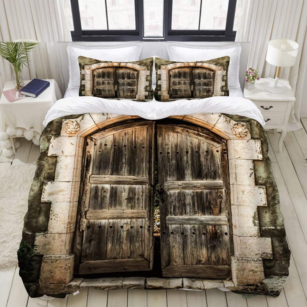 "LIASDIVA Duvet Cover,Country Antique Farmhouse Barn Door Wooden European Medieval Garage Marble,Bedding Set Ultra Comfy Lightweight Luxury Microfiber Sets (3pcs King Size 104"" 88"")"