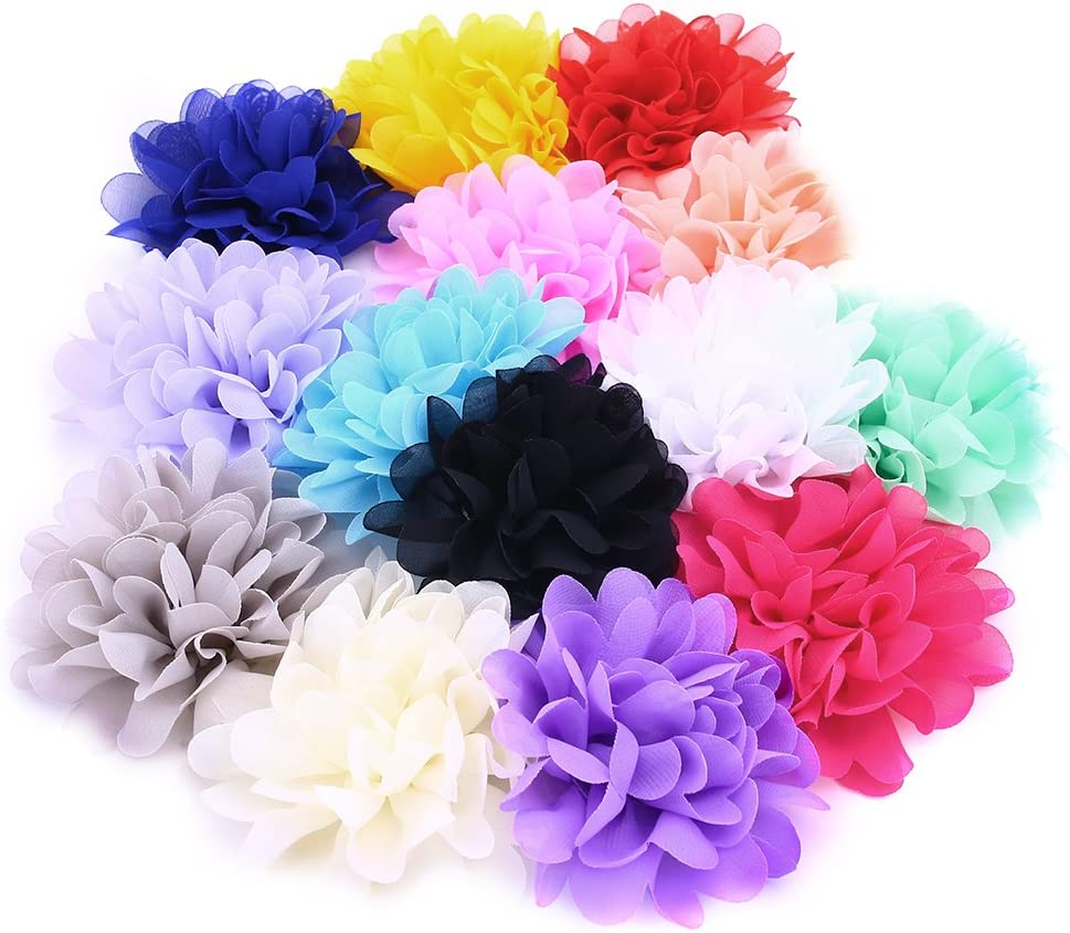 4 Inch 14Pcs Lace Chiffon Peony Fabric Flowers for DIY Headbands Girl Flower Accessories Fabric Flowers