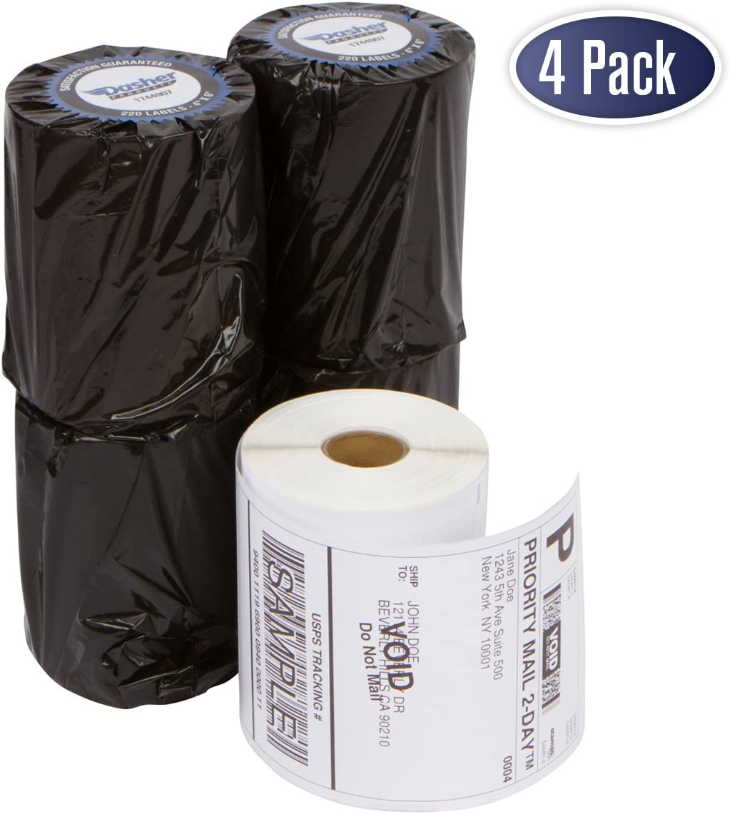"""Dymo 1744907 Compatible Shipping Labels - 4"""" x 6"""" Thermal Postage Labels for 4XL, Water & Grease Resistant, Ultra Strong Permanent Adhesive, Perforated, BPA Free, 220 Labels per Roll (4 Pack)"""