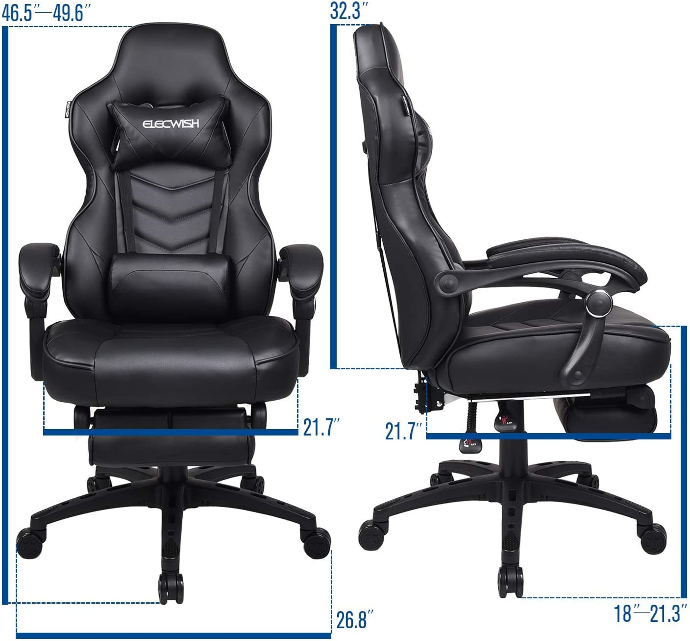 Video Gaming Chair Racing Office Orange Reclining PU Leather High Back Ergonomic Adjustable Swivel Executive Computer Desk Large Size Footrest Headrest Lumbar Support Adjustable arms Cushion