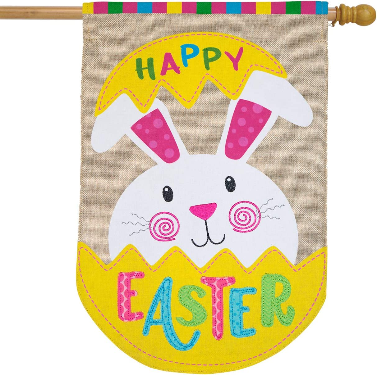 "Briarwood Lane Easter Bunny Egg Burlap House Flag Holiday 28"" x 40"""