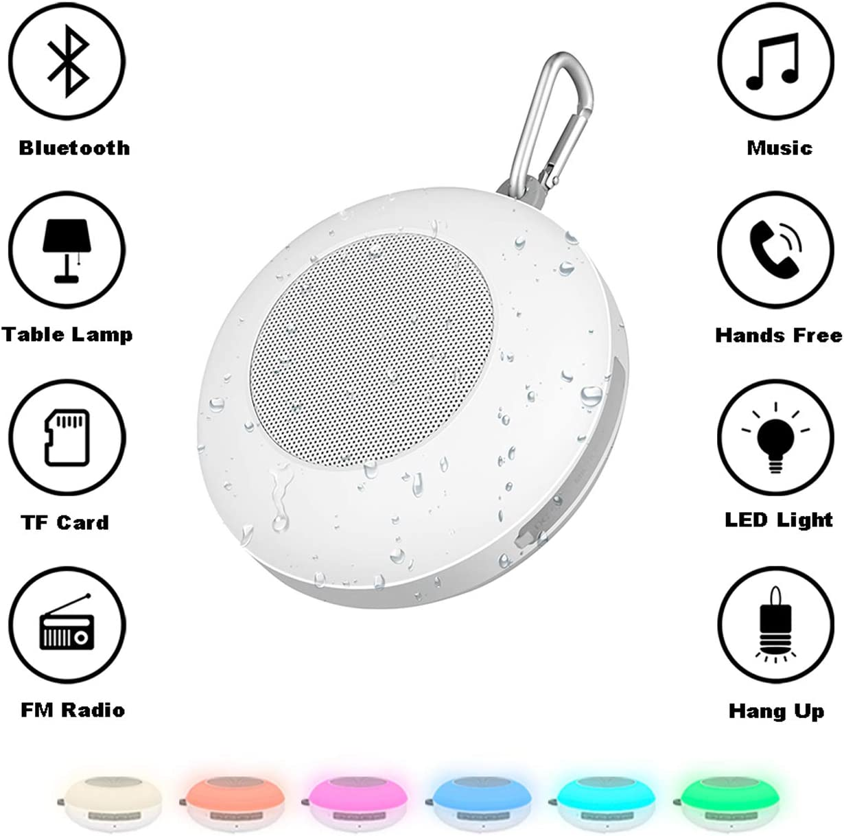 Amazon Com Portable Floating Waterproof Multi Light Touch Sensor Wireless Speaker Ipx5 Waterproof Handsfree Call Tf Card Support Dimmable Warm White Light 7 Color 3 Brightnesses Changing Home Audio Theater
