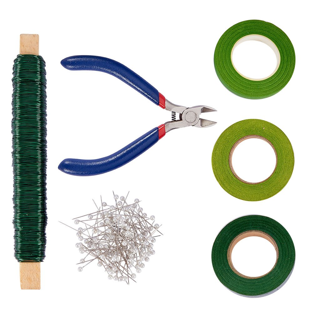 PH PandaHall Floral Arrangement Tool Kit, Wire Cutter, 22 Gauge Floral Paddle Wire, 1/2 Green Floral Tapes and 100 Pieces Ball Head Pins for Bouquet Stem Wrap Florist