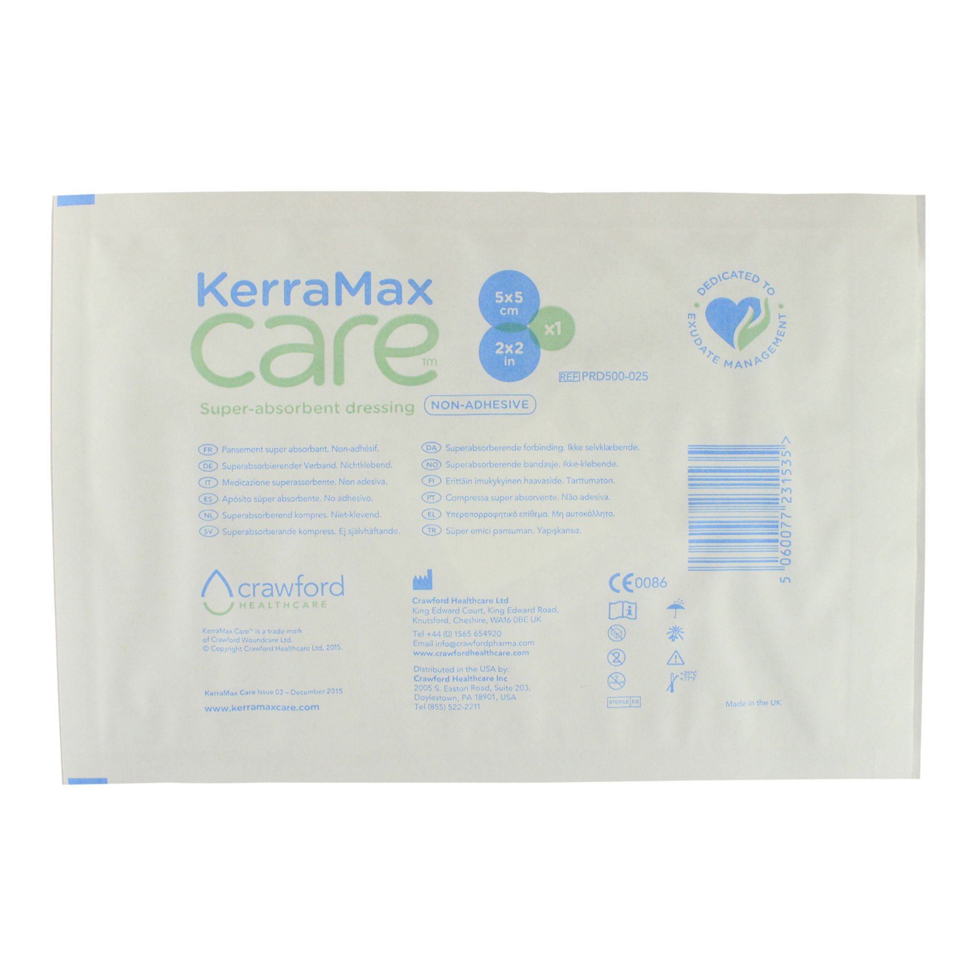 KerraMax Care 2''x2'' Super Absorbent Wound Dressing (PRD500-025) – Absorbs Exudate and Isolates it, Preventing Leaks or Drips for Improved Patient Comfort and Wound Care Treatment (1 Each)