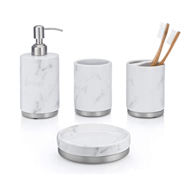 EssentraHome 4-Piece White Ceramic Bathroom Accessory Set with Marble Look, Complete Set Includes: Soap/Lotion Dispenser, Toothbrush Holder, Tumbler, and Soap Dish
