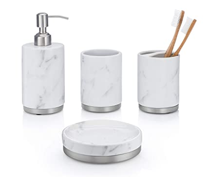 Amazon Com Essentrahome 4 Piece White Ceramic Bathroom Accessory