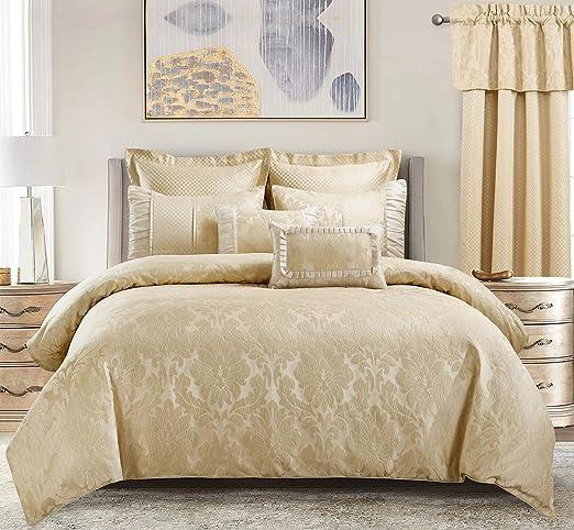 Luxury 12pc Black /& Gold Jacquard Weave Comforter Set AND Sheet Set