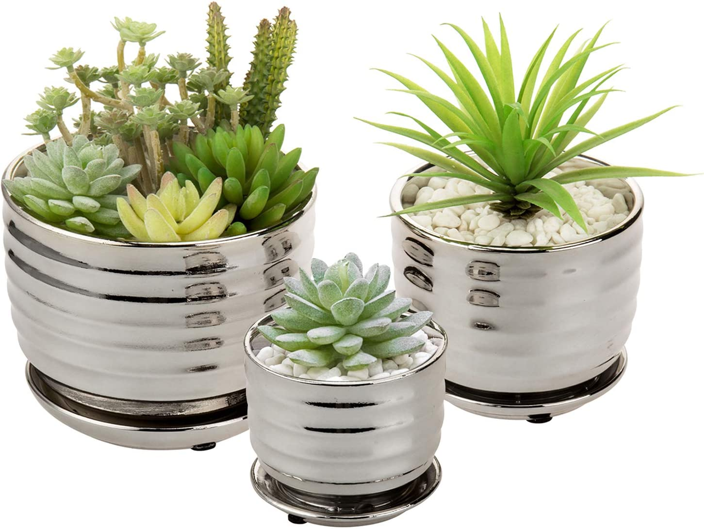 MyGift Contemporary Metallic Silver Tone Nesting Ceramic Tabletop Planter Pots with Horizontal Ribbed Design and Attached Saucers, 3 Piece Set