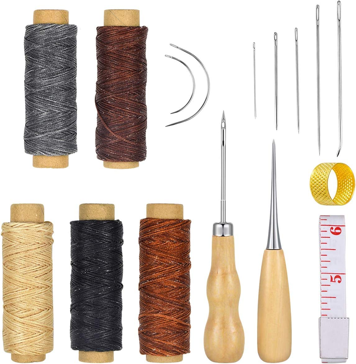 7Pcs Sewing Needles with Leather Waxed Thread Cord Drilling Awl Thimble Kit