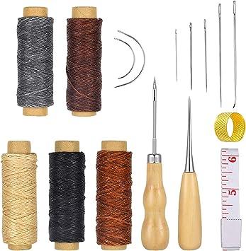 16pcs Hilo Encerado de Cuero 5 Color 274 Yardas 150D Cordón de Hilo de Coser de Cuero con Cuero Craft Kit de Herramientas de Mano para DIY Craft de Costura: Amazon.es ...
