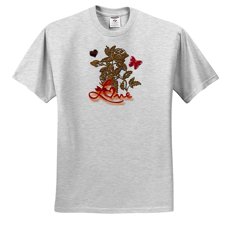 Gold Rose Digital Art Butterfly and Heart with Love Ribbon 3dRose Spiritual Awakenings Love T-Shirts
