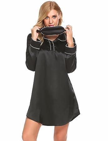 b700d859de Acecoree Nightgown Sleepshirts Women s Long Sleeve Sleepwear Nightshirts  Sleep Dress S-XXL