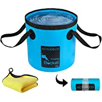 AUTODECO Collapsible Bucket Folding Water Container Portable Durable Wash Basin Water Storage Bag for Fishing Camping…