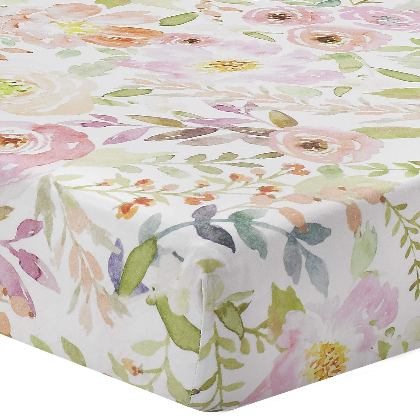 Blush Watercolor Floral Crib Sheet by Liz and Roo