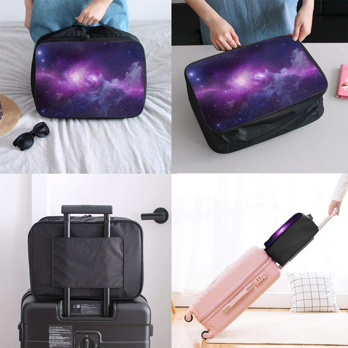 Travel Luggage Duffle Bag Lightweight Portable Handbag Fantasy Purple Space Print Large Capacity Waterproof Foldable Storage Tote