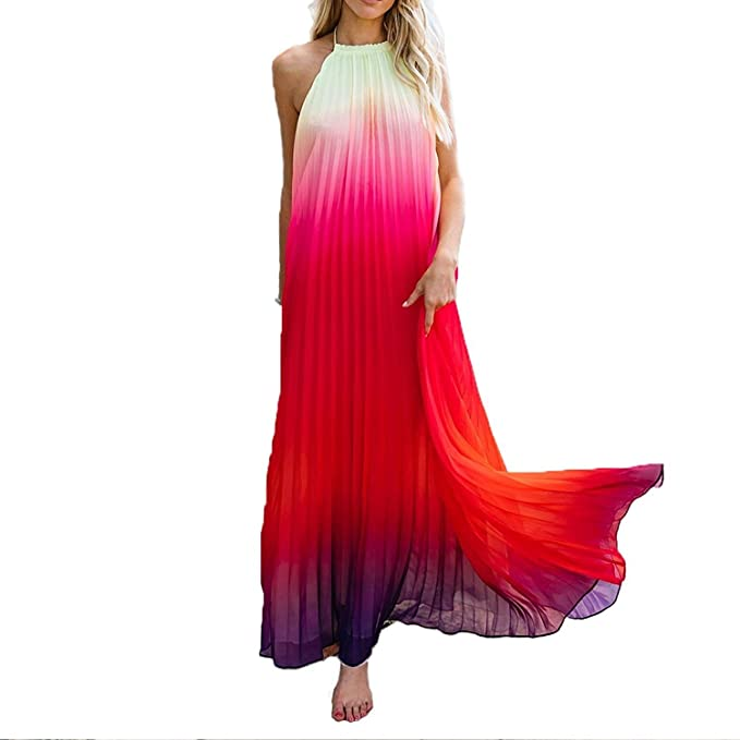 ae10fcc47e9104 Vestiti in Chiffon Donna Eleganti Lunga Fashion Sciolto Casual Vestito  Estivi Smanicato Senza Schienale Fashion Chic Bello Colore Sfumato Vestito  Mare ...