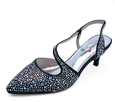 d5c00c96ee7 HeelzSoHigh Ladies Black Kitten-Heel Wedding Prom Bridesmaid Diamante Court  Shoes Sizes 3-7  Amazon.co.uk  Shoes   Bags
